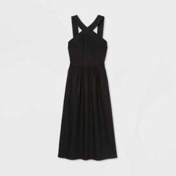 Women's Sleeveless Linen Dress - A New Day Black