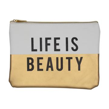 Ruby+cash Faux Leather Makeup Bag & Organizer - Life Is Beauty Color Block