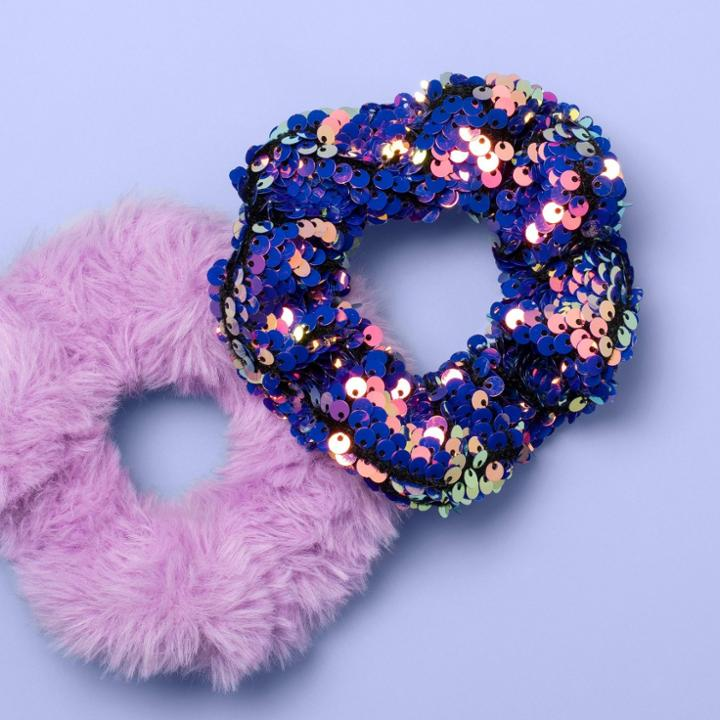 Girls' 2pk Scrunchies - More Than Magic Purple, Girl's