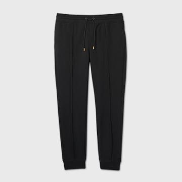 Men's Tall Pintuck Fleece Jogger Pants - Goodfellow & Co Black