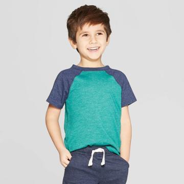 Toddler Boys' Raglan Short Sleeve T-shirt - Cat & Jack Green/navy