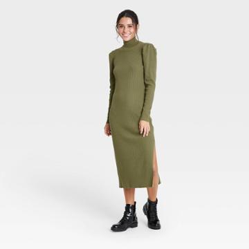 Women's Puff Long Sleeve Sweater Dress - Who What Wear Green