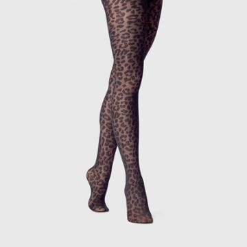 Women's Leopard Print Sheer Tights - A New Day Black S/m, Women's, Size: