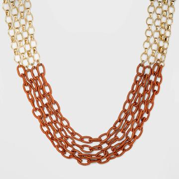 Mixed Chain And Threaded Link Layer Frontal Necklace - A New Day Rust, Women's, Red