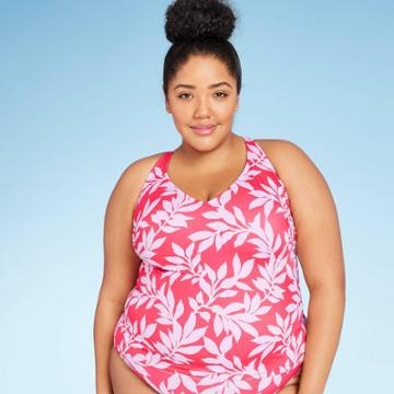 Women's Plus Size V-neck Tankini Top - All In Motion Red Floral