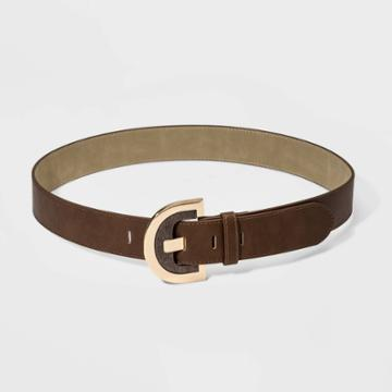 Women's Wood Half Moon Buckle Belt - A New Day Brown S, Women's,