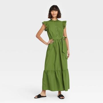 Women's Ruffle Short Sleeve A-line Dress - Who What Wear Green