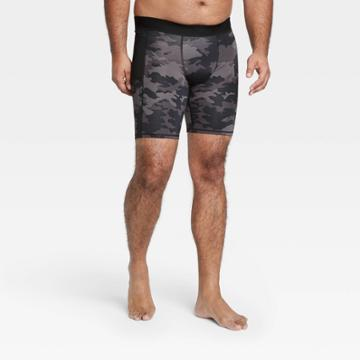 Men's Camo Print 6 Fitted Shorts - All In Motion Black M, Men's, Size: Medium, Black Green