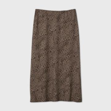 Women's Leopard Print A-line Skirt - A New Day Gray