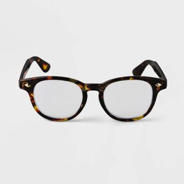 Men's Tortoise Print Round Blue Light Filtering Glasses - Goodfellow & Co Brown