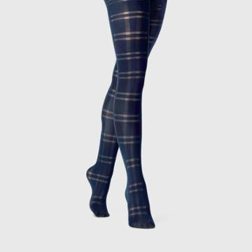 Women's Plaid Tights - A New Day Navy/black S/m, Size: