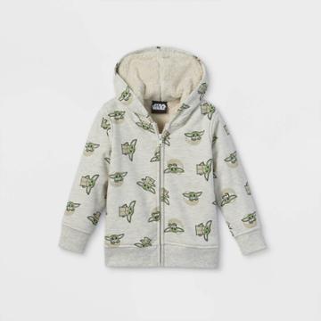 Toddler Boys' Star Wars Baby Yoda Sherpa Lined Zip-up Sweatshirt - Gray