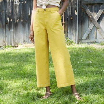 Women's High-rise Wide Leg Cropped Jeans - Universal Thread Yellow