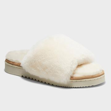 Women's Dluxe By Dearfoams Sutton Genuine Shearling Slide Slippers - Natural