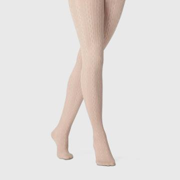 Women's Cable Sweater Tights - A New Day Oatmeal S/m, Size: Small/medium, Brown