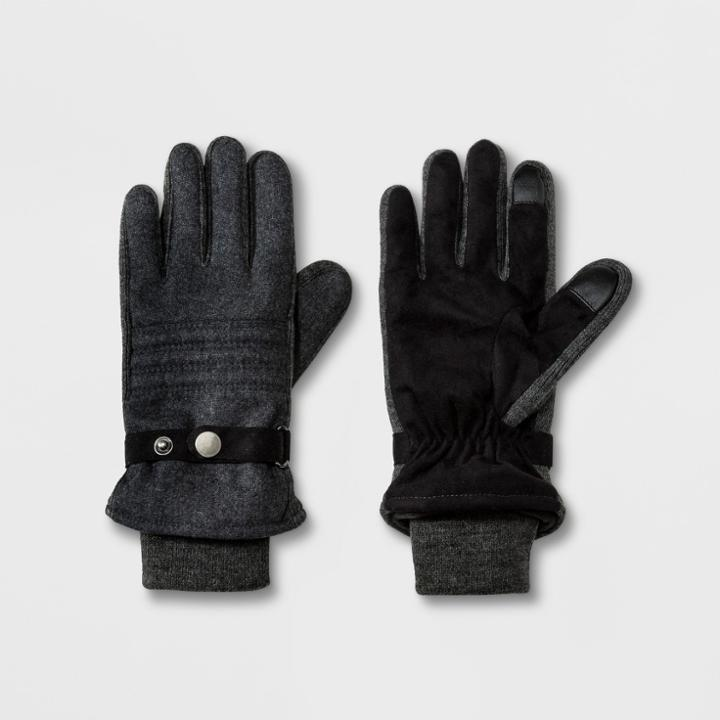 Men's Stripe Quilted Woven Glove With Thinsulate Lined & Acrylic Knit Cuff Gloves - Goodfellow & Co Grey