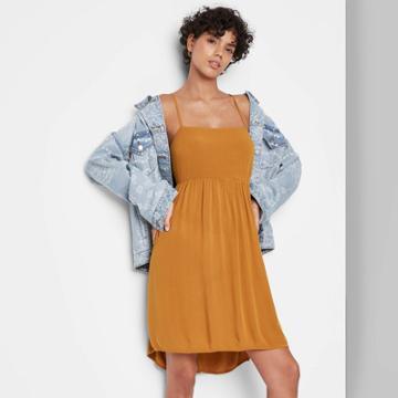 Women's Sleeveless Open Back Babydoll Dress - Wild Fable Rust