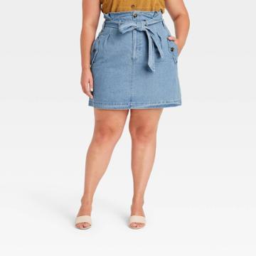 Women's Plus Size Mini Jean Skirt - Who What Wear Blue