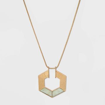 Semi-precious Amazonite Hexagon Pendant Necklace - Universal Thread Mint, Women's, Green