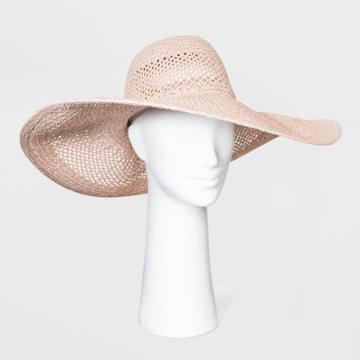 Women's Open Weave Floppy Hats - A New Day Blush One Size, Women's, Pink
