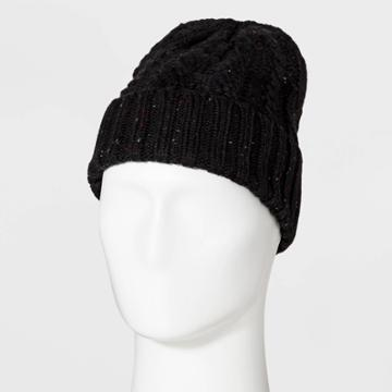 Men's Cable Nep Beanie - Goodfellow & Co Black One Size,