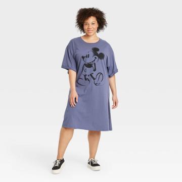 Women's Disney Plus Size Mickey Short Sleeve Graphic T-shirt Dress - Blue