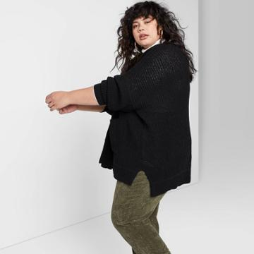 Women's Plus Size Chenille Oversized Cardigan - Wild Fable Black