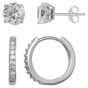 Distributed By Target Women's Set Of Stud And Huggie Hoop Earrings With Clear Cubic Zirconia In Sterling Silver - Silver (14mm), Clear
