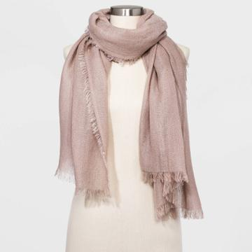 Women's Oblong Wrap Lurex Scarf - A New Day Blush One Size, Women's, Pink