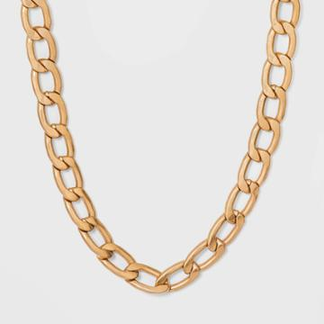 Chunky Flattened Curb Chain Necklace - Universal Thread Worn Gold