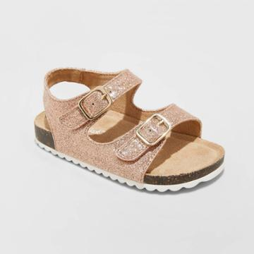 Toddler Girls' Tisha Footbed Sandals - Cat & Jack Rose Gold 5, Toddler Girl's