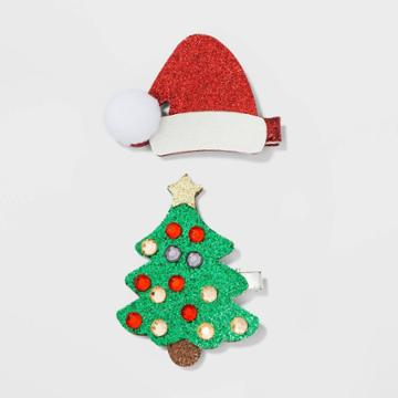 No Brand Santa Glitter Faux Leather Hat And Christmas Tree With Gems Hair Clips And Pins