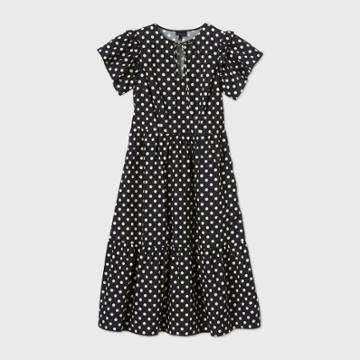 Women's Polka Dot Short Sleeve Dress - Who What Wear Black