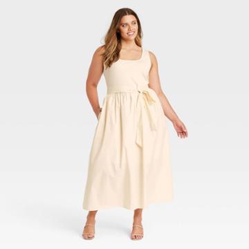 Women's Plus Size Sleeveless Knit Woven Dress - Who What Wear Cream