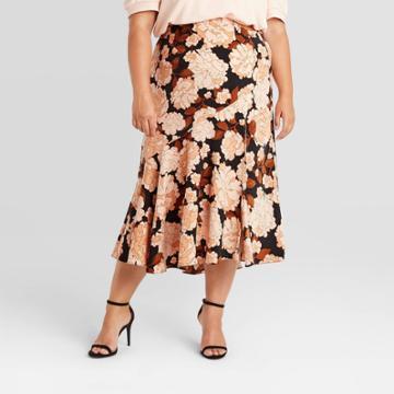 Women's Floral Print Midi Slip Skirt - Who What Wear Blue