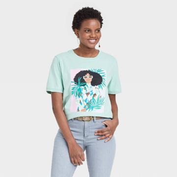 Women's Bijou Karman Palm Leaves Short Sleeve Graphic T-shirt - Aqua