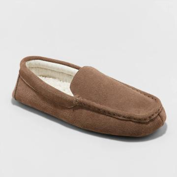 Men's Carlo Genuine Suede Moccasin Slippers - Goodfellow & Co Brown