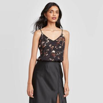 Women's Floral Print V-neck Cami - A New Day Black