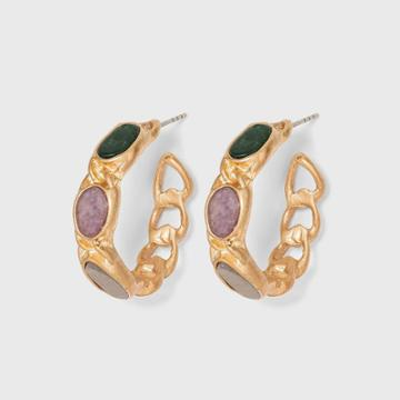 Labradorite And Lepidolite Semi-precious Curb Chain Hoop Earrings - Universal Thread ,