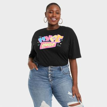 Modern Lux Women's Plus Size Hype House Elbow Sleeve Graphic T-shirt - Black