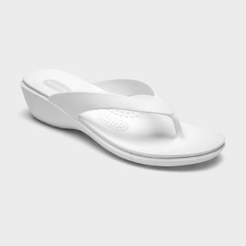 Women's Splash Sustainable Wedge Flip Flops - Okabashi White S, Women's,