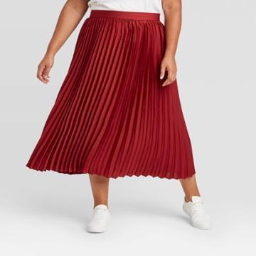 Women's Plus Size Pleated Skirt - Ava & Viv Burgundy X, Red