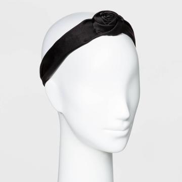 Knot Top Poof Satin Plastic Headband - A New Day Black