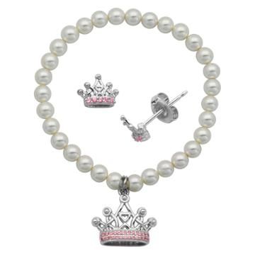 Prime Art & Jewel Children's Sterling Silver White Shell Pearl And Pink Cz Crown Stud And Bracelet Combo, Girl's