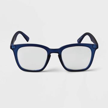 Men's Square Blue Light Filtering Reading Glasses - Goodfellow & Co Blue