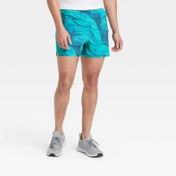 Men's 5 Printed Lined Run Shorts - All In Motion Dark Teal