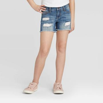 Girls' Crochet Destructed Jean Shorts - Cat & Jack Dark Wash Xs, Girl's, Blue