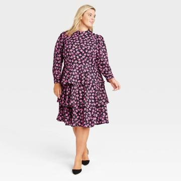 Women's Plus Size Floral Print Puff Long Sleeve Tiered Dress - Who What Wear Pink
