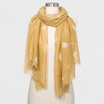Women's Oblong Floral Print Scarf - A New Day Brown One Size, Women's