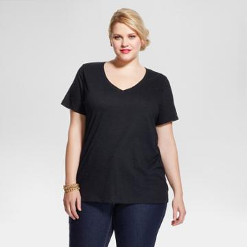 Women's Plus Size Short Sleeve T-shirt - Ava & Viv - Black